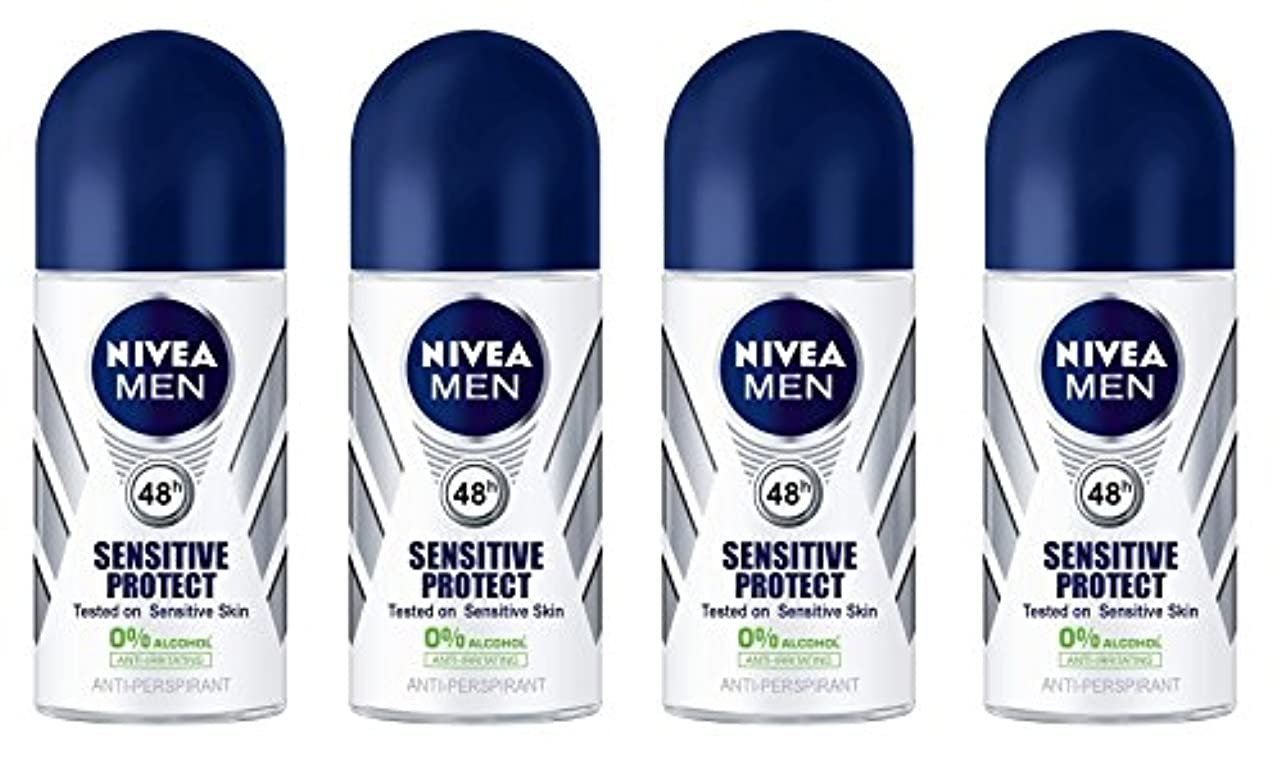喪を除く歯科の(Pack of 4) Nivea Sensitive Protect Anti-perspirant Deodorant Roll On for Men 50ml - (4パック) ニベア敏感な保護する制汗剤デオドラントロールオン男性用50ml
