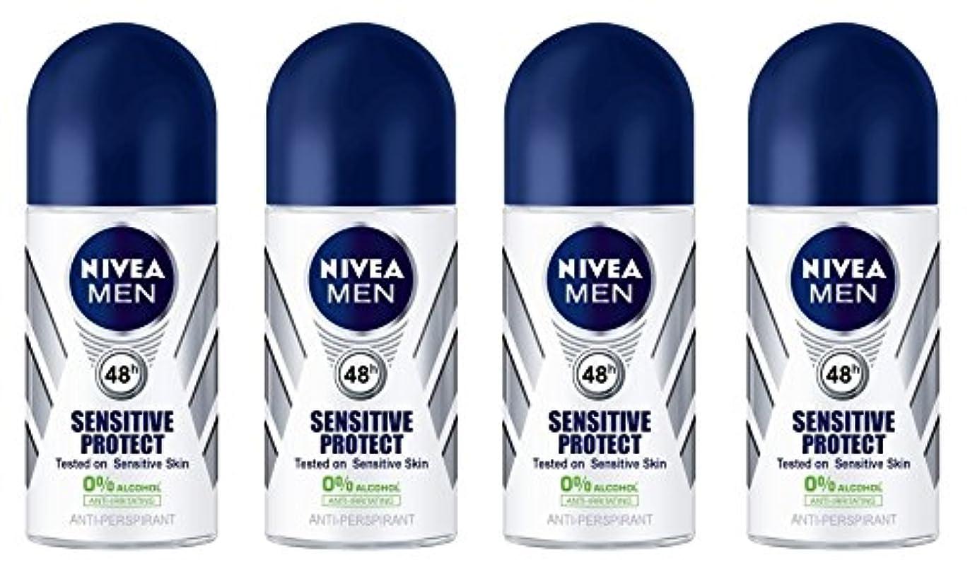 縮れた浸漬王女(Pack of 4) Nivea Sensitive Protect Anti-perspirant Deodorant Roll On for Men 50ml - (4パック) ニベア敏感な保護する制汗剤デオドラントロールオン...