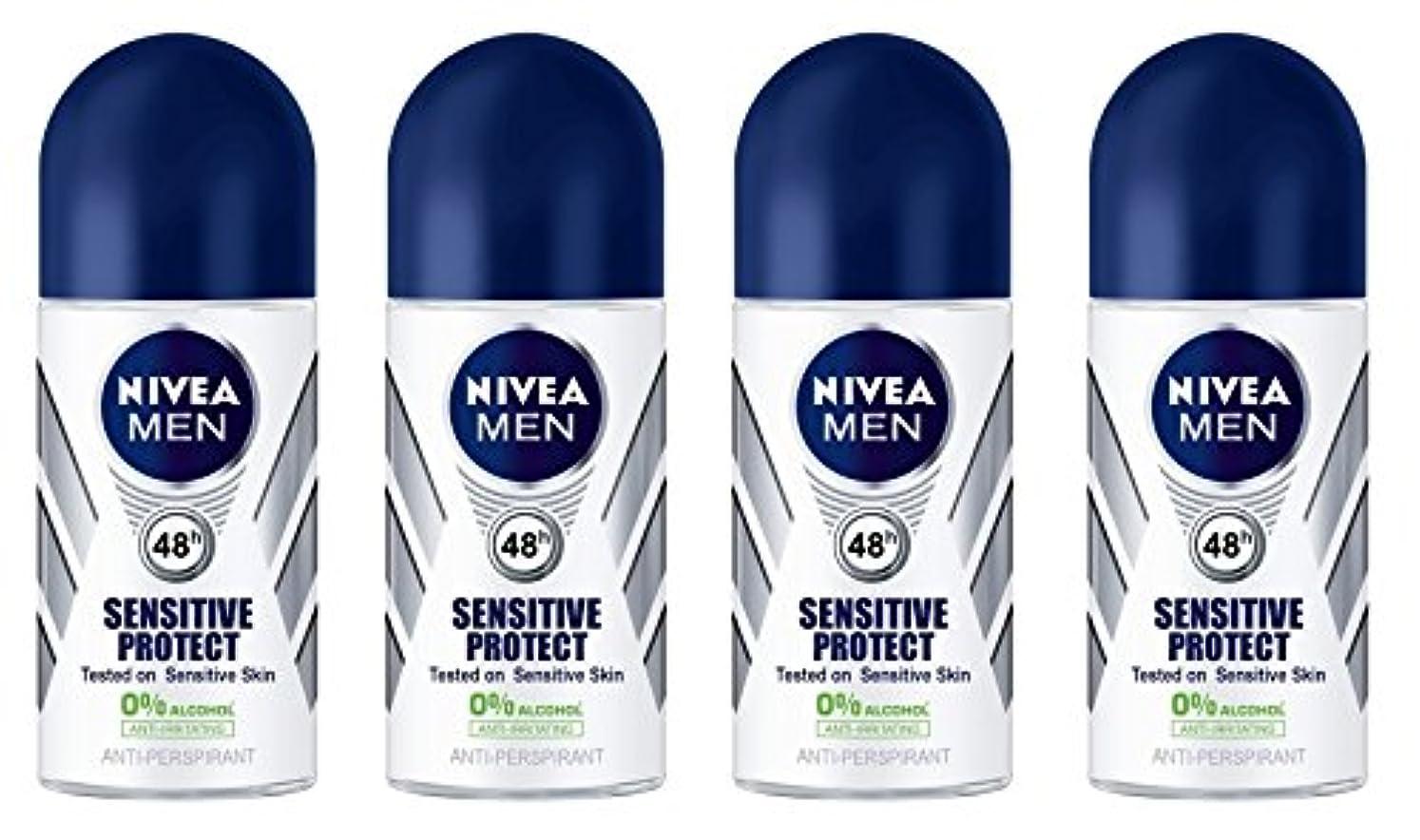 吸収する前提突撃(Pack of 4) Nivea Sensitive Protect Anti-perspirant Deodorant Roll On for Men 50ml - (4パック) ニベア敏感な保護する制汗剤デオドラントロールオン...