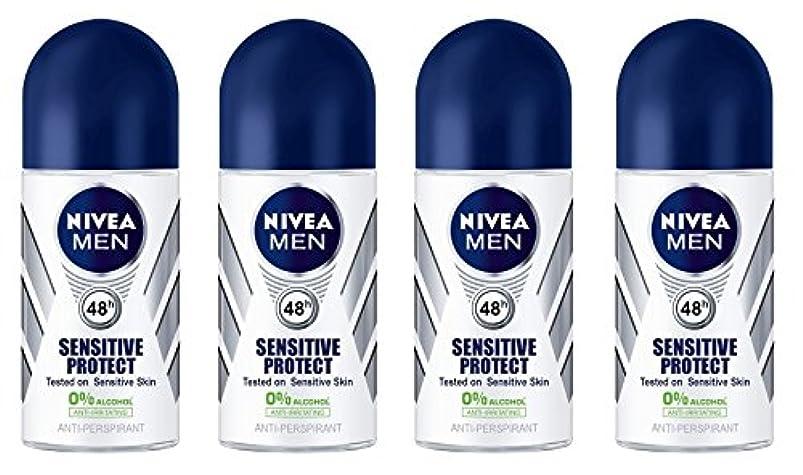細心のアサー故意に(Pack of 4) Nivea Sensitive Protect Anti-perspirant Deodorant Roll On for Men 50ml - (4パック) ニベア敏感な保護する制汗剤デオドラントロールオン...