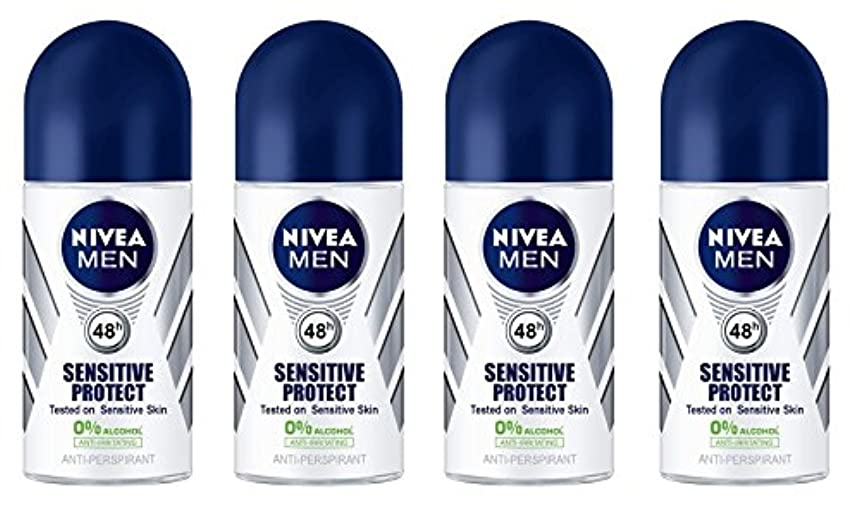 バウンドヒューマニスティックモードリン(Pack of 4) Nivea Sensitive Protect Anti-perspirant Deodorant Roll On for Men 50ml - (4パック) ニベア敏感な保護する制汗剤デオドラントロールオン...