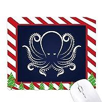 白と黒のタコ海洋生活パターン ゴムクリスマスキャンディマウスパッド