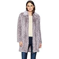 Avec Les Filles Women's Knitted Faux Fur Walker Coat