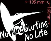 カッティングステッカー No WindSurfing No Life (ウインドサーフィン)・1 約160mm×約195mm ホワイト 白