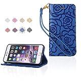 iPhone6 Plus / 6s Plus 手帳型ケース Smart Plus ケース 手帳型花柄 おしゃれ かわいい カードポケット 携帯カバー スタンド機能 アイホン6プラスケース用 横開き 財布型カバー スマホケース マグネット ストラップ付き (iPhone6 Plus / 6s Plus, ブルー)