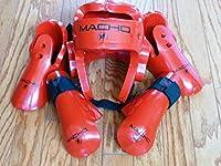 Macho Dyna Sparring Gear Karate TaeKwonDo TKD - Red 5pc Set (Head (Large) - Punch and Kick (Medium))