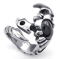 [テメゴ ジュエリー]TEMEGO Jewelry メンズステンレススチールリング、ゴシック部族スコーピオン・バンド、ブラックシルバー[インポート]