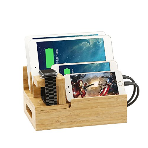 Coeuspow 高品質竹製 収納型充電スタンド 複数ポートのUSB急速充電器 優雅 筆立て 多功能充電スタンド iPhoneやiPadなど対応 安全 安定 底部に滑り止めゴムが付く