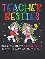 Unicorn Teacher: Rainbow PE Teacher Besties Best Friends Unicorn Composition Notebook Lightly Lined Pages Daily Journal Blank Diary Notepad Dabbing in the class with best friends 8.5x11