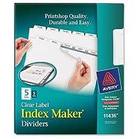 lsk5AveryインデックスメーカークリアラベルDividerタブ–5/ Pack–ホワイトDivider