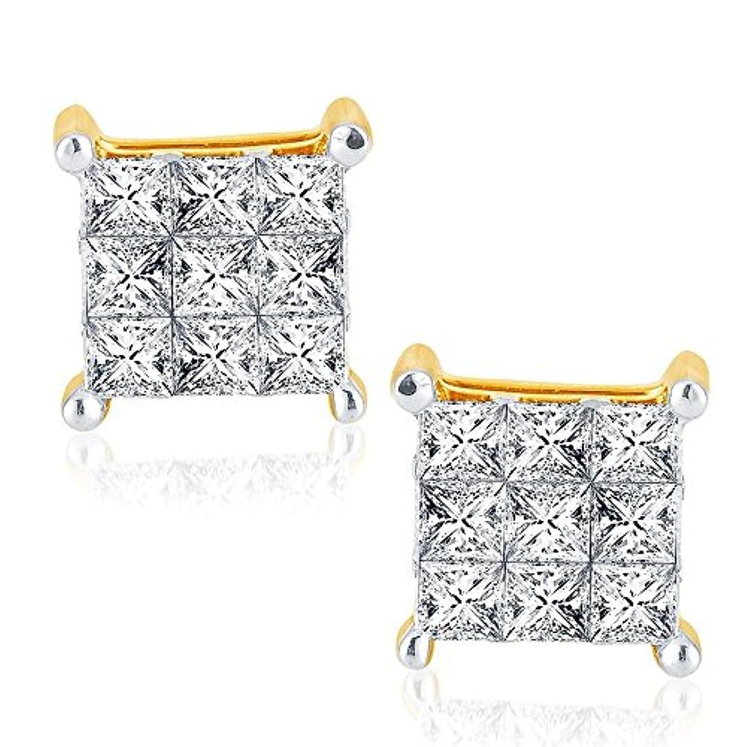 結婚する血素晴らしい良い多くの1 / 2ctwダイヤモンドイヤリング10 Kイエローゴールド7 mm wideプリンセスカットInvisibleセット7 mm