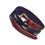 Navy Blue Four Fish Striped Bass, Bluefish, Marlin, and Yellow-Fin Tuna Men's Belt