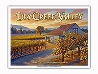 ドライ・クリーク・バレー・ワイナリー - ドライ・クリーク・ロード沿い - ノースコーストAVAブドウ園 - カリフォルニアワインカントリーアート によって作成された カーン・エリクソン - アートポスター - 23cm x 31cm