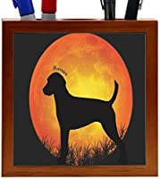 Rikki Knight Harrier Dog Silhouette By Moon Design 5-Inch Tile Wooden Tile Pen Holder (RK-PH41387) [並行輸入品]