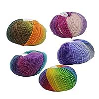 Perfk 毛糸 手編糸 段染タイプ カラフル 編み物 クリスマスプレゼント ギフト 5色セット