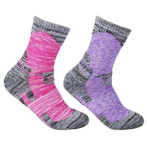 YUEDGE 2足入女性靴下多機能アウトドアスポーツソックス 遠足 徒歩オフロード 登山用靴下 トレッキング 通気吸湿速乾(品揃えパープル&レッド)