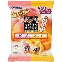オリヒロプランデュ ぷるんと蒟蒻ゼリーパウチ ピーチ+マンゴー 20gx12個×6袋