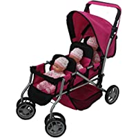 Mommy & Me TRIPLET Doll Pram Back to Back with Swiveling Wheels & Free Carriage Bag - 9668A [並行輸入品]