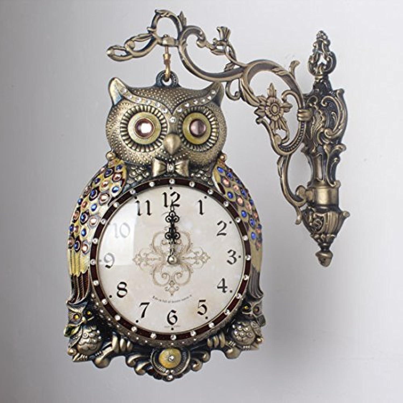 フクロウ 鋳物 両面時計(ゴールド)