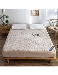 マットレストッパーパッド天然ラテックスパッド畳ベッドカバー保護パッドフロアマット家庭用クッション (色 : Khaki, サイズさいず : 90×200cm)