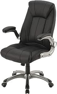 ぼん家具 デスクチェア ロッキング機能 ひじ掛け付き キャスター付き オフィスチェア 椅子 ブラック
