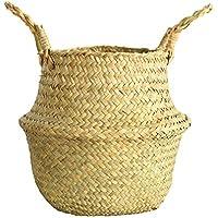 織物のバスケット 手作り 折り畳む 天然素材 品質保証 多目的 折り畳み 収納バッグ ハンドル付き 収納バスケット  ハンドル付き 収納バスケット