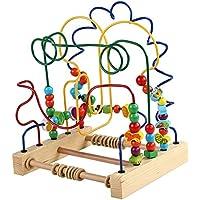 ビーズ迷路おもちゃ、子供の木製コースター、ビーズ、早期教育、幼児に適した教育玩具 ( Color : A )