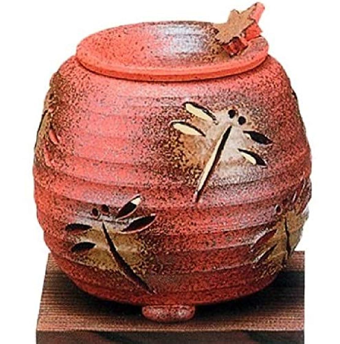 単位強制究極の【常滑焼】石龍 焼〆千段トンボ茶香炉   千段トンボ透かし  φ11×H11㎝ 3-830