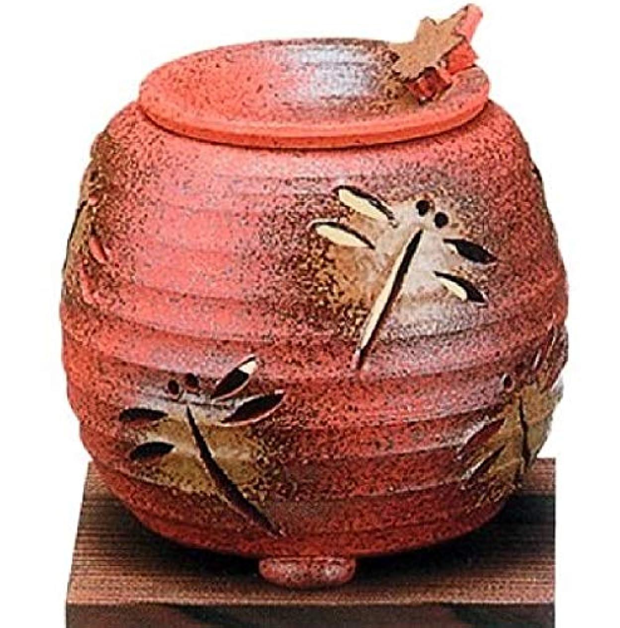ねばねばリップ許容できる【常滑焼】石龍 焼〆千段トンボ茶香炉   千段トンボ透かし  φ11×H11㎝ 3-830