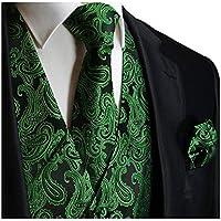 Brand Q Men's 3pc Paisley Vest Necktie Pocket Square Set for Suit or Tuxedo