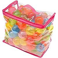 FIELDOOR カラーボール クリア 7色 100個入り 直径5.5cm 【やわらかポリエチレン製】 (こどもプール/ボールハウス/キッズプレイサークル用)