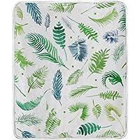 AOMOKI 毛布 シングル マイクロファイバー ひざ掛け 冷房/防寒対策 2枚合わせ 洗える 暖かい 保温 130x150cm 葉模様 植物