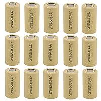 Kastar 15パックサブC 2200mAhニッカド電池フラットトップ充電式バッテリー(タブなし)