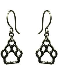 [happy new earrings] チタン製フック使用ピアス 金属アレルギー対応 モチーフチャーム 犬の足型チャーム 動物 ペット かわいい お出かけやパーティーに プレゼントにも