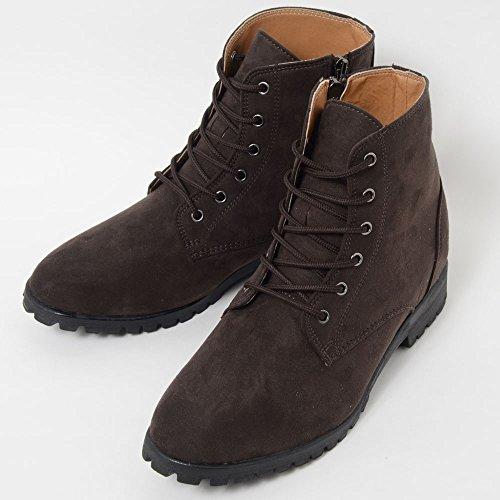 シークレットシューズ 身長アップ靴 8cm背が高くなる靴 kk3-110 (25.5cm, ブラウン)