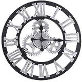 23インチの円形の柱時計、居間の寝室のための旧式なハンドメイドの木のビンテージ3Dギヤ設計,23inch