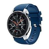 Samsung Galaxy Watch 46mmバンド Comtax 22mm シリコン製 交換用バンド Samsung Galaxy Watch 46mm バンド (ブルー)