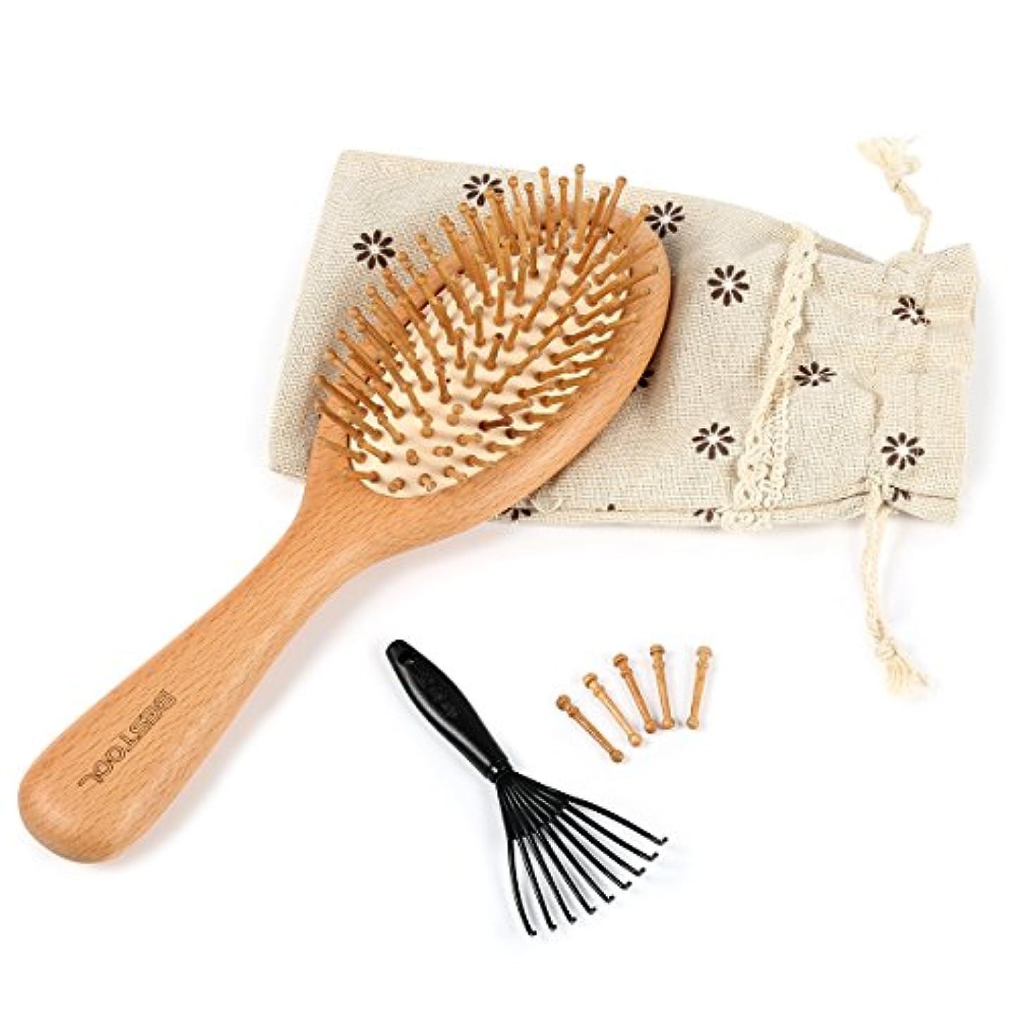 しかしホバードリンクヘアブラシ 木製櫛 Bestool 美髪ケア 頭皮マッサージ 薄毛改善 血流改善 高級ヘアブラシ ヘア保護 (S)
