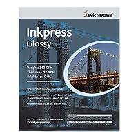 Inkpress光沢, Premium Single Sided明るい樹脂コーティングPhotogradeインクジェット用紙、10.4Mil、240gsm、4x 6インチ、1000シート