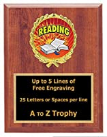 Reading Plaque Trophy 6x 8Wood Book Academic教育Trophies Awards Free Engraving