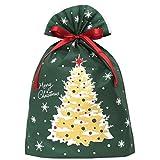 インディゴ クリスマス ラッピング袋 グリーティングバッグ3L クリスマスツリー ダークグリーン XG984