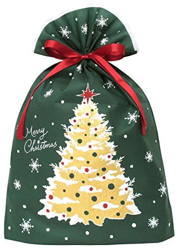 『インディゴ クリスマス ラッピング袋 グリーティングバッグ3L クリスマスツリー ダークグリーン XG984』のトップ画像