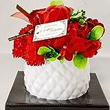 シャボンフラワー フラワーポット 陶器製花鉢 バラ カーネーション プレゼント ギフト (レッド)