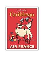 カリブ海を飛びます - エアフランス - カリプソダンサーとコンガドラマー - ビンテージな航空会社のポスター c.1958 - アートポスター - 23cm x 31cm