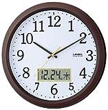 LANDEX 掛け時計 ディアタイム デジタルカレンダー 連続秒針 ダークブラウン YW9142DBR