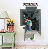 マインクラフト(MINECRAFT) ウォールステッカー クリーパー 壁紙 大型シール ステッカー 壁を掘るスティーブ