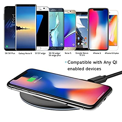 2 Pack - Wireless Charger, F.R Wireless Charging Pad for Apple iPhone 8/8 Plus, iPhone X, Samsung Note 8, S8/S8 Plus/S7/S7 Edge/S6, Nexus 7/6/5/4, Nokia Lumia 920, LG Optimus Vu2, and More (New Version)