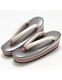 (キステ)Kisste 高級6枚芯お洒落草履 Mサイズ チャコールグレー ×クリーム 7-1-02835