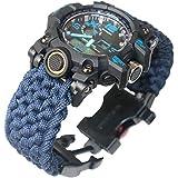 Paracord-DIY ネイビーブルー パラコード 腕時計バンド アウトドア サバイバルウォッチ ブレスレット フリントファイヤースターターコンパスホイッスル付き