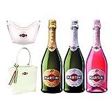 マルティーニ スパークリングワイン 3種飲み比べ ワインクーラー・トートバッグ付き 750ml×3本セット[イタリア/スパークリングワイン/甘口・辛口/ロゼ/3本セット]